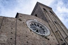 Fermo Marches, Italy. Facade of historic church with rose window Royalty Free Stock Image