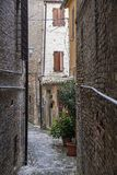 Fermo Marches, Italy. Historic buildings along an old typical street Royalty Free Stock Image