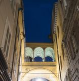 Fermo Marches, Italy. Historic building along a typical street at evening Stock Photo