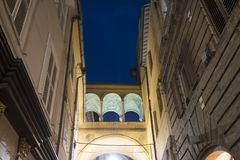 Fermo Marches, Italy. Historic building along a typical street at evening Royalty Free Stock Photography