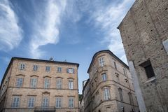 Fermo Marches, Italy. Historic buildings along an old typical street Stock Photography