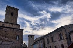 Fermo Marches, Italy. Historic buildings along an old typical street at evening Royalty Free Stock Image