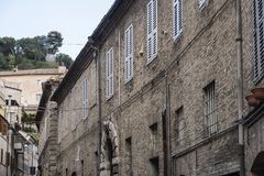 Fermo Marches, Italy. Historic buildings along an old typical street Royalty Free Stock Photos
