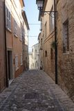 Fermo Marches, Italy. Historic buildings in Vicolo degli Orlandi Stock Image