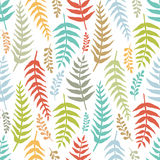 Fern colorful seamless background. Hand-drawn sketch Stock Photos