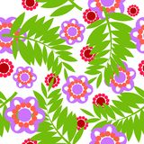 Fern and flower pattern. Simple flower and fern seamless pattern on white background. Element for your dsigns, decorations, wallpaper, print, backdrop, wrapping Stock Image