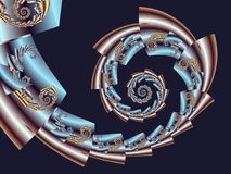 Fern Fractal metálico rosado ilustración del vector
