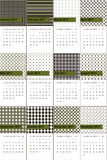Fern frond and night rider colored geometric patterns calendar 2016 Stock Images