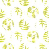 Fern green leaves circles seamless vector pattern. Foliage repeat background Stock Image