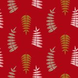 Fern green leaves seamless vector red pattern. Foliage repeat background Stock Images
