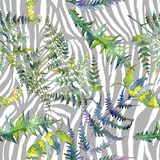 Fern green leaves. Watercolor background illustration set. Seamless background pattern. Fern green leaves. Leaf plant botanical garden floral foliage stock illustration