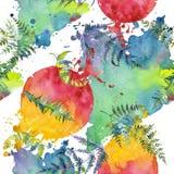 Fern green leaves. Watercolor background illustration set. Seamless background pattern. Fern green leaves. Leaf plant botanical garden floral foliage vector illustration