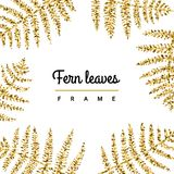 Fern leaves gold glitter vector hand drawn illustration. Fern leaves gold glitter vector hand drawn illustration frame Royalty Free Stock Photography