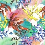 Fern leaves. Leaf brake plant botanical garden floral foliage. Seamless background pattern. Fabric wallpaper print texture. Aquarelle leaf for background stock illustration