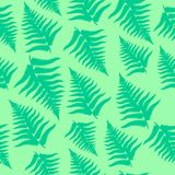 Fern leaves seamless pattern. Seamless scattered fern leaves bright green background Royalty Free Stock Images