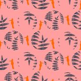 Fern pink leaves circles and birds seamless vector pattern. Foliage repeat background Royalty Free Stock Photos