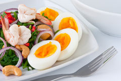 Fern salad. With boiled egg, traditional and modern thai food Royalty Free Stock Photography