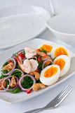 Fern salad. With boiled egg, traditional and modern thai food Stock Images