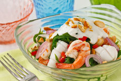 Fern salad. Thai fusion food, Fern and seafood salad with sour and spicy coconut milk dressing Stock Images