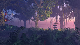 Fern thicket at misty night Royalty Free Stock Image