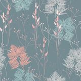 Fern and wild herbs seamless pattern. Green jade bracken and new Zealand fern, forest herbs wallpaper. Vintage blue background stock illustration