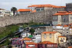 Fernandina City Wall and Funicular dos Guindais in Porto Stock Photos