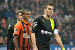 Fernandinho in the Champions League match Stock Images