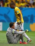 Fernandinho and Julio Cesar Coupe du monde 2014 Royalty Free Stock Photography