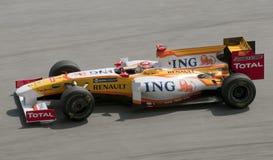 Fernando 2009 Alonso al Malaysian F1 grande Prix Fotografia Stock