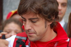 Fernando Alonso. F1 Driver Fernando Alonso  is among his fans and giving autographs on July 29, 2011 in Budapest, Hungary Royalty Free Stock Photography