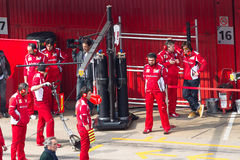 Fernando Alonso die (IN HET BIJZONDER) aan werktuigkundige Ferrari spreekt Stock Fotografie