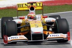 FERNANDO ALONSO, EQUIPE 2009 de ING RENAULT F1 Imagem de Stock Royalty Free