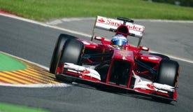 Fernando Alonso Ferrari. Fernando Alonso in his Ferrari during the Belgium Grand Prix in Spa 2013 Stock Photos