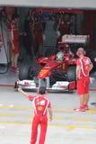 Fernando Alonso nell'arresto del pozzo Immagini Stock