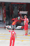 Fernando Alonso in pit stop. Fernando Alonso  at pit stop at sepang circuit of Malaysia Grand Prix Stock Images