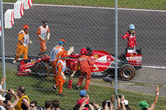 Fernando Alonso retires with engine failure, Monza 2014 Stock Photo