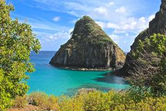 Fernando de Noronha, Brazil. Two Brothers rocks in Fernando de Noronha Royalty Free Stock Images
