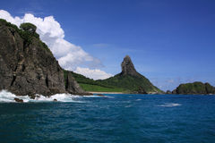 Fernando de Noronha panorama and Pico. Brazil Pernambuco state Panorama of Fernando de Noronha island nature reserve with Moro do Pico the symbol of the island Royalty Free Stock Photo