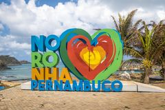 Fernando De Noronha znak - Fernando De Noronha, Pernambuco, Brazylia Zdjęcia Royalty Free