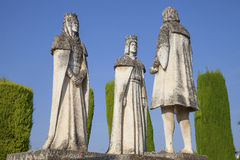 Fernando (Ferdinand) and Isabel summoning Christopher Columbus. Statues of Fernando (Ferdinand) and Isabel, King and Queen of Spain, summoning Christopher stock images