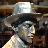 Fernando Pessoa. Scuplture of the famous portuguese writer Fernando Pessoa in Lisbon, Portugal in front of the famous coffeehouse A Brasileira Stock Photo