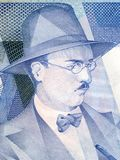Fernando Pessoa portrait. From Portuguese money Royalty Free Stock Photo