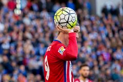 Fernando Torres plays at the La Liga match between RCD Espanyol and Atletico de Madrid Royalty Free Stock Photos