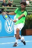 Fernando Verdasco makes ball contact with a high backhand Stock Image