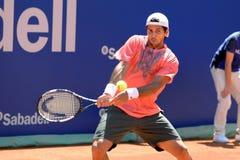 Fernando Verdasco (spansk tennisspelare) lekar på ATPEN Barcelona öppnar bancen Sabadell Arkivfoto