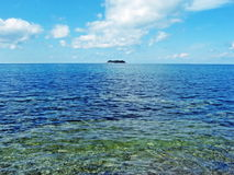 Fernatoll im Meer Stockfotos