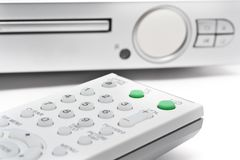 Ferncontroller mit DVD-Spieler Stockbilder