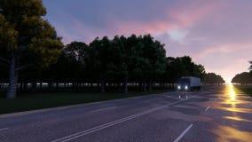 Fernlastfahrer geht auf Nachtstraße lizenzfreie abbildung