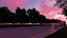 Fernlastfahrer geht auf Nachtstraße stock abbildung