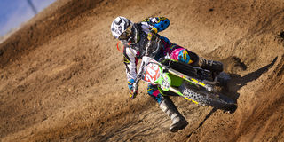 Fernley SandBox Dirt Bike Racer cornering Royalty Free Stock Photos
